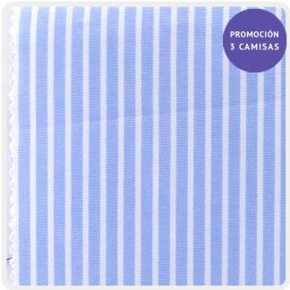 Popelín azul raya blanca 5203-03