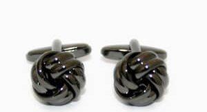 accesorios hombre gemelos nudo metálico negro
