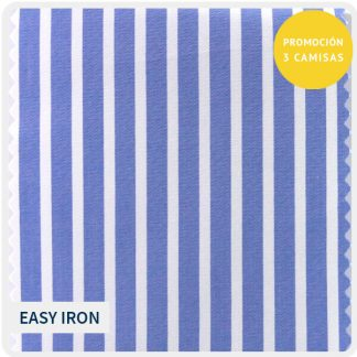 algodon easyiron azul raya blanca 5160-07