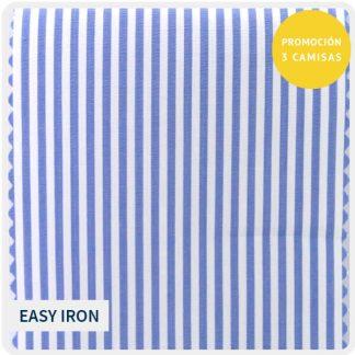 algodon easyiron raya azul claro 5160-05