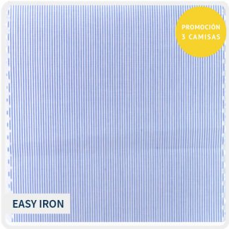 algodon easyiron raya muy fina azul-blanco 5160-01