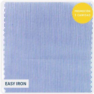 algodon easyiron raya muy fina azul-blanco 5160-02