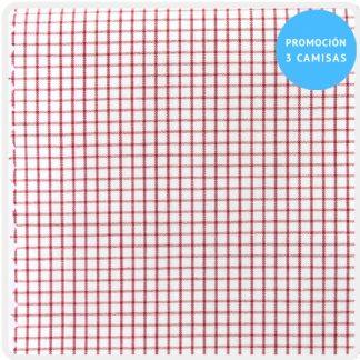camisa a medida cuadro pequeño rojo 5923-03
