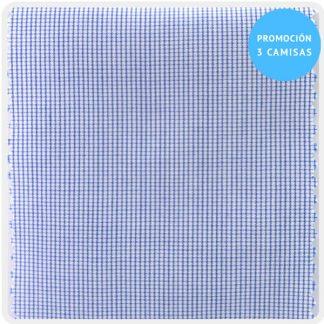 camisa a medida mezcl micro cuadro azul 6096-02