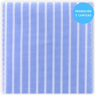 camisa a medida mezcla azul raya blanca 5930-01