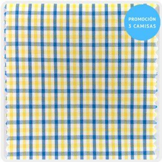 camisa a medida mezcla cuadro amarillo-azul 6067-05