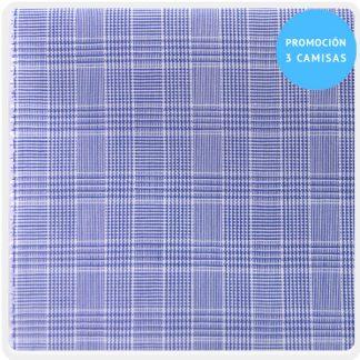 camisa a medida mezcla cuadro gales azul 6095-02