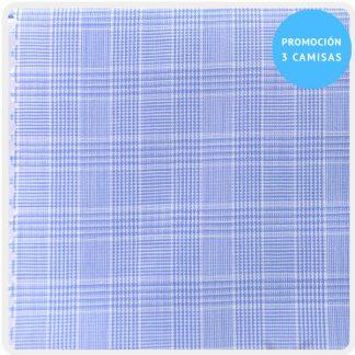 camisa a medida mezcla cuadro gales azul claro 6095-01