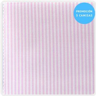 camisa a medida mezcla raya candela rosa 5838-08