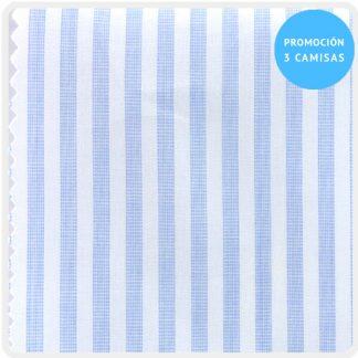 camisa a medida mezcla raya celeste-blanco 5956-02