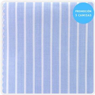 camisa a medida mezcla raya celeste raya fina blanco 5956-04