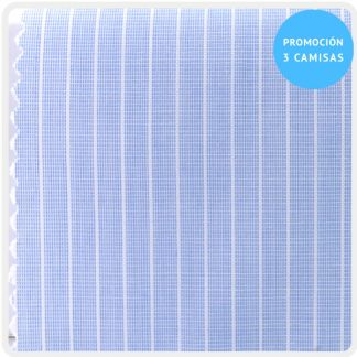 camisa a medida mezcla raya celeste raya muy fina blanco 5956-03